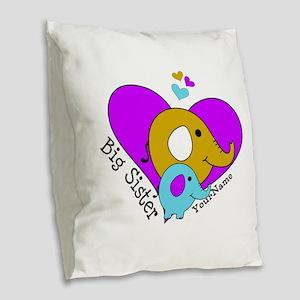 Big Sister Elephant Personaliz Burlap Throw Pillow