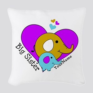 Big Sister Elephant Personaliz Woven Throw Pillow