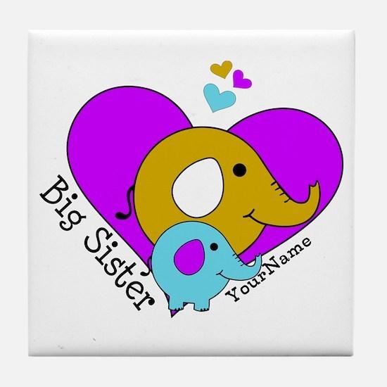 Big Sister Elephant Personalized Tile Coaster