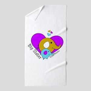 Big Sister Elephant Personalized Beach Towel