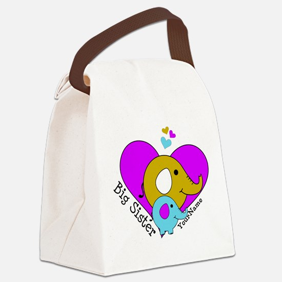 Big Sister Elephant Personalized Canvas Lunch Bag