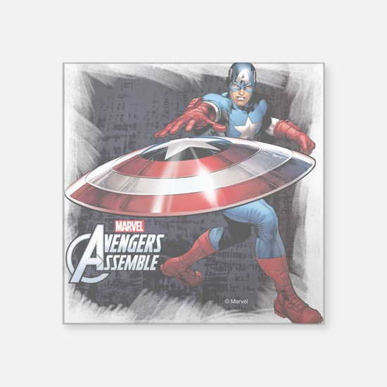 "Captain America with Shield Square Sticker 3"" x 3"""