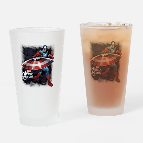 Captain America with Shield Drinking Glass