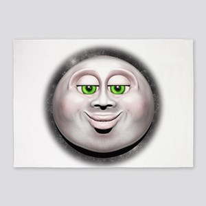 Full Moon Smiling Face 3D 5'x7'Area Rug
