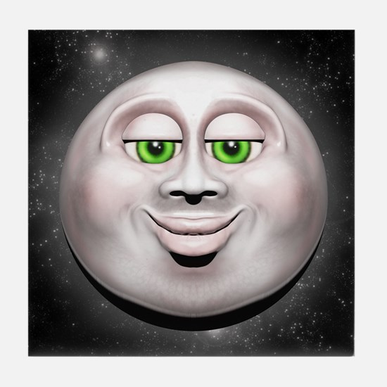 Full Moon Smiling Face 3D Tile Coaster