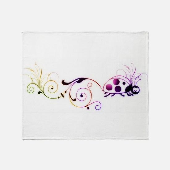 Groovy ladybug with fun tail Throw Blanket