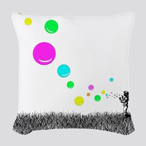 Girl Blowing Bubbles Woven Throw Pillow