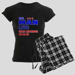 Real Man Love Briard Dog Women's Dark Pajamas