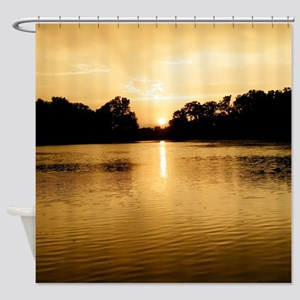 Golden Sunset At Lake Shower Curtain