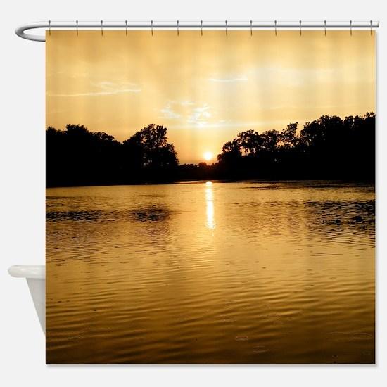 Golden Sunset At Lake Shower Curtain