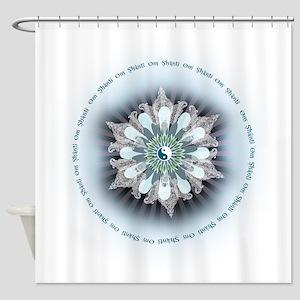 Om Shanti Lotus Shower Curtain