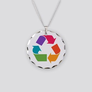 Rainbow Recycle Necklace Circle Charm