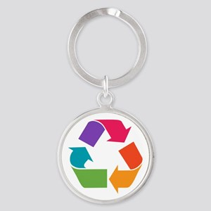 Rainbow Recycle Round Keychain