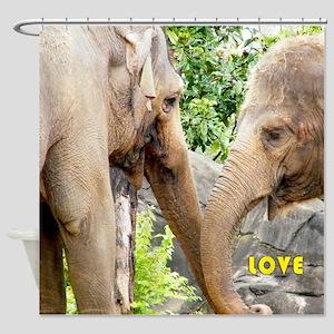 Two Elephants In Love Shower Curtain