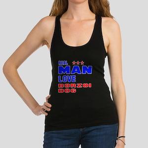 Real Man Love Borzoi Dog Racerback Tank Top