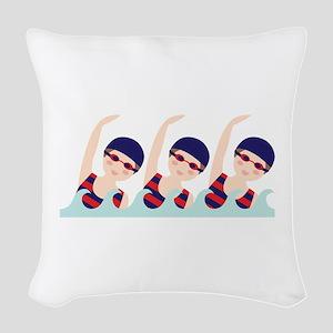 Synchronized Swimming Girls Woven Throw Pillow