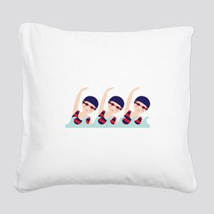 Synchronized Swimming Girls Square Canvas Pillow