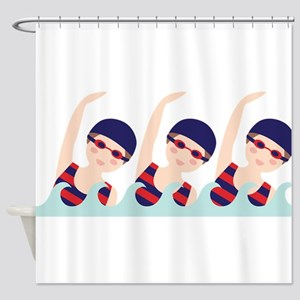 Synchronized Swimming Girls Shower Curtain