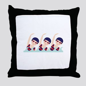Synchronized Swimming Girls Throw Pillow