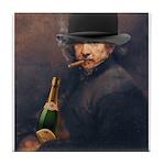 Derby hat, cigar & champagne Rembrandt Tile Coaste