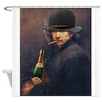 Derby Hat, Cigar & Champagne Shower Curtain