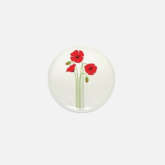 Poppy Flower Mini Button