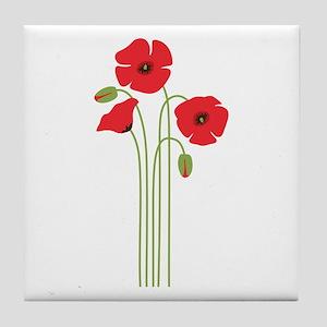 Poppy Flower Tile Coaster
