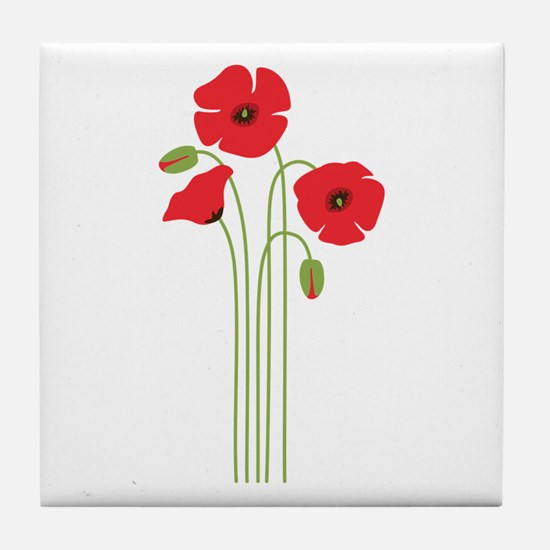 Poppy Flower Tile Coaster