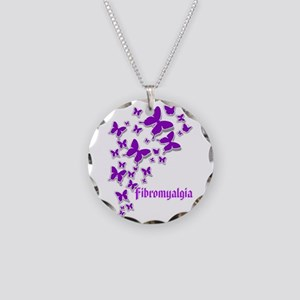 Fibromyalgia Butterflies 2 Necklace Circle Charm