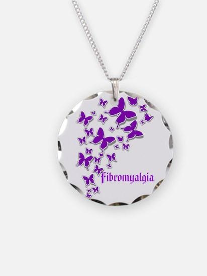 Fibromyalgia Butterflies 2 Necklace Circle Charm