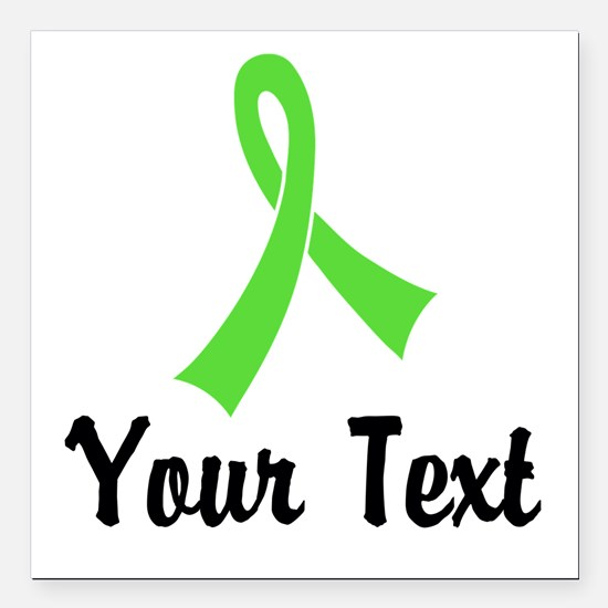 """Personalized Lime Green Square Car Magnet 3"""" x 3"""""""