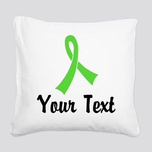 Personalized Lime Green Ribbo Square Canvas Pillow