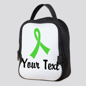Personalized Lime Green Ribbon Neoprene Lunch Bag