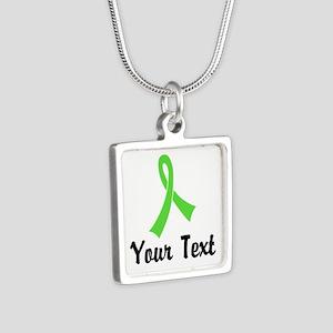 Personalized Lime Green Ri Silver Square Necklace