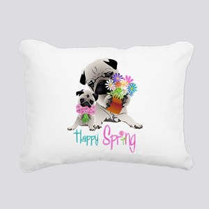 Happy Spring Pugs and Fl Rectangular Canvas Pillow