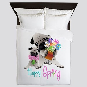 Happy Spring Pugs and Flowers Queen Duvet