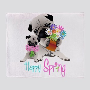 Happy Spring Pugs and Flowers Throw Blanket