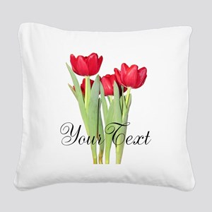 Personalizable Tulips Square Canvas Pillow
