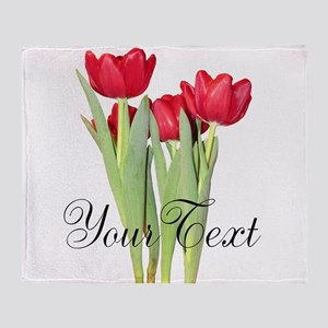 Personalizable Tulips Throw Blanket