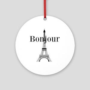 Bonjour Eiffel Tower Ornament (Round)