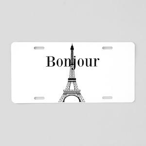 Bonjour Eiffel Tower Aluminum License Plate