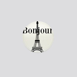 Bonjour Eiffel Tower Mini Button