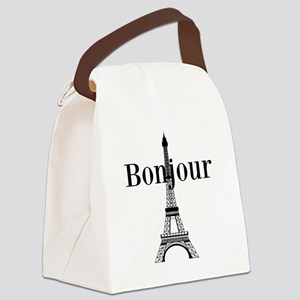 Bonjour Eiffel Tower Canvas Lunch Bag
