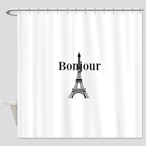 Bonjour Eiffel Tower Shower Curtain
