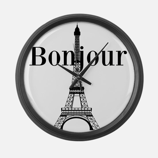 Bonjour Eiffel Tower Large Wall Clock