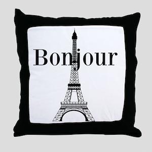 Bonjour Eiffel Tower Throw Pillow