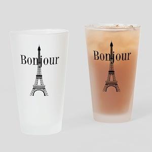 Bonjour Eiffel Tower Drinking Glass