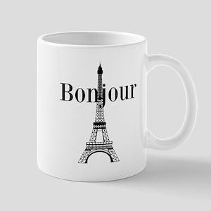 Bonjour Eiffel Tower Mugs