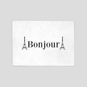 Eiffel Tower Bonjour 5'x7'Area Rug