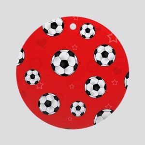 Cute Soccer Ball Print - Red Ornament (Round)